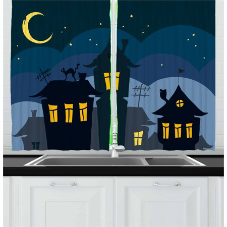 Halloween Curtains 2 Panels Set, Old Town with Cat on the Roof Night Sky Moon and Stars Houses Cartoon Art, Window Drapes for Living Room Bedroom, 55W X 39L Inches, Black Yellow Blue, by Ambesonne](Halloween Art For Two Year Olds)