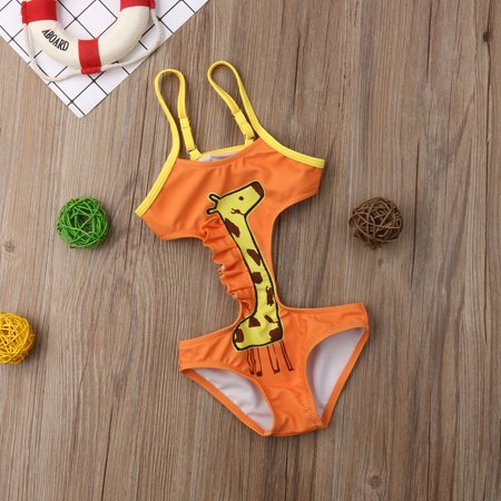 1pc Baby Girls Giraffe Swimwear Backless Swimsuit Bikini Beachwear Suit](Giraffe Suit)