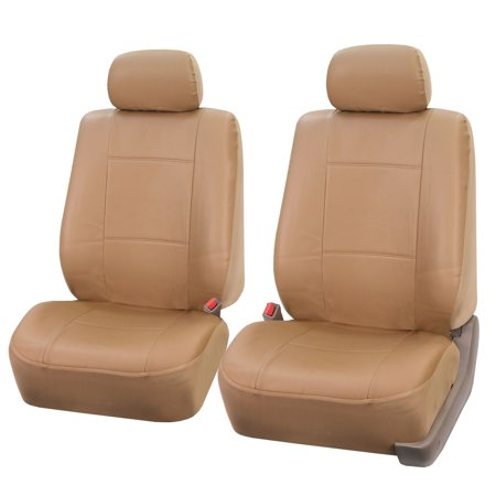 FH Group Faux Leather Seat Covers, Pair, Tan