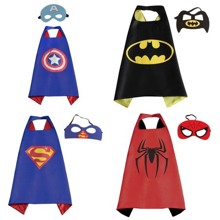 4 Set Superhero  Costumes - Capes and Masks with Gift Box by - Latex Superhero Costume