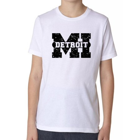 Detroit, Michigan MI Classic City State Sign Boy's Cotton Youth T-Shirt - Halloween City Mi