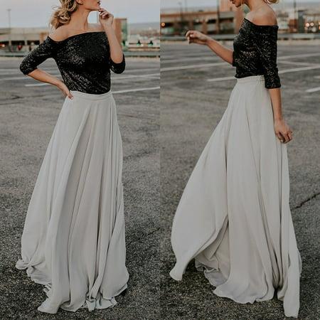 Hot Womens Flared Gypsy Boho Long Maxi Full Skirt Party Beach Dress Evening - Gypsy Corset Dress