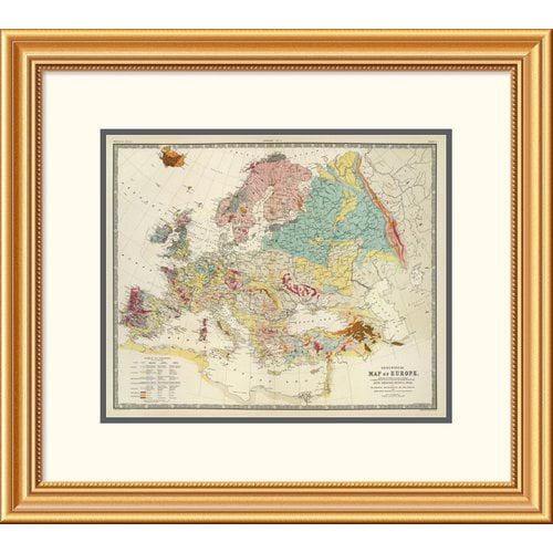 East Urban Home 'Geological map Europe, 1856' Framed Print