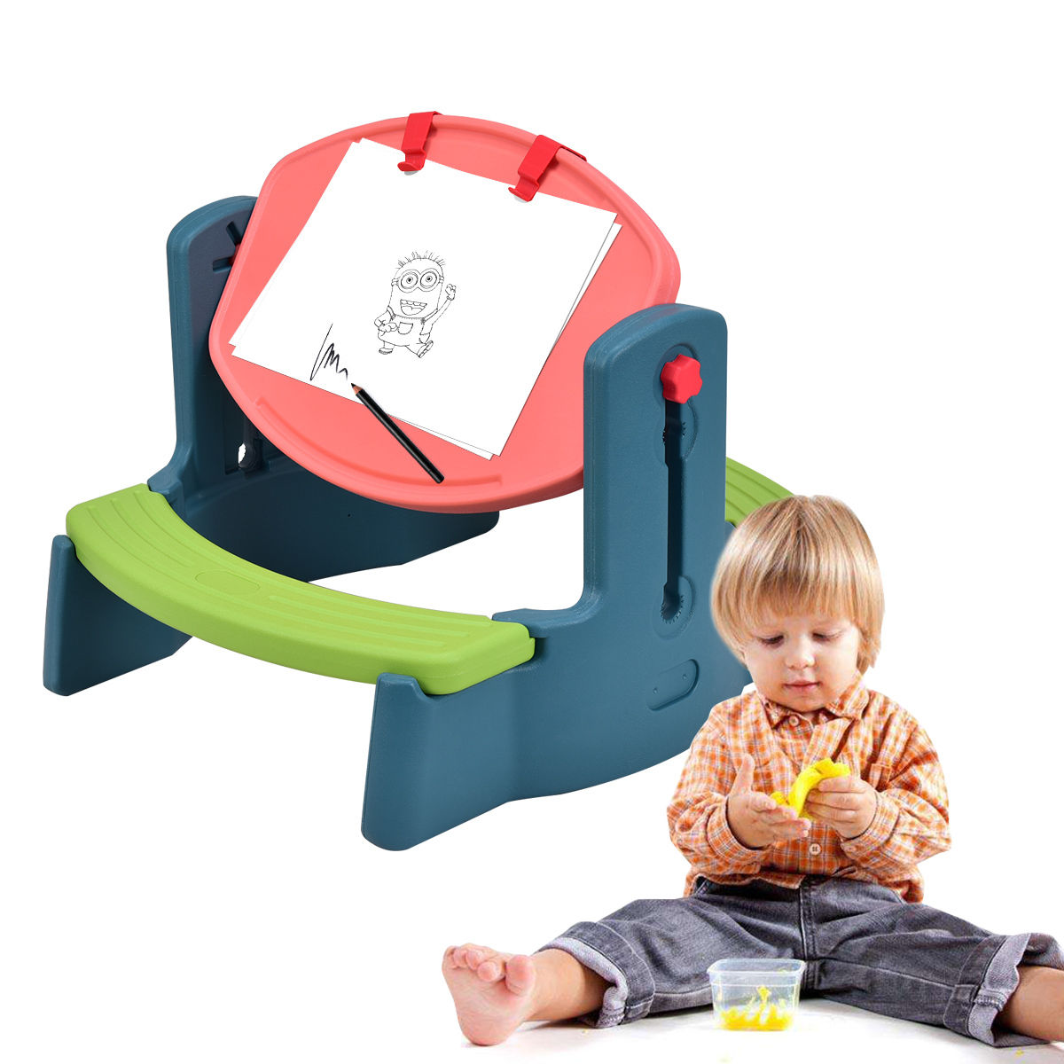 Costway Plastic Children Kids Drawing Table Chair Set Height Adjustable Colorful Play