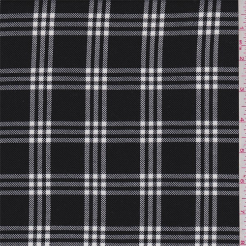 Black/White Windowpane Plaid Polyester Suiting, Fabric By the Yard