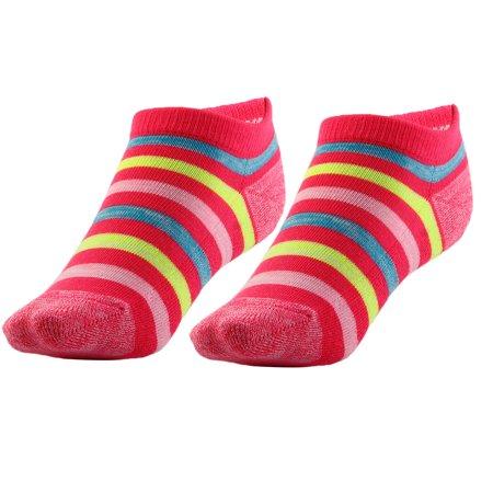 Boy Badminton Elastic Quarter Stockings Cushioned Sport Ankle Socks Fuchsia Pair