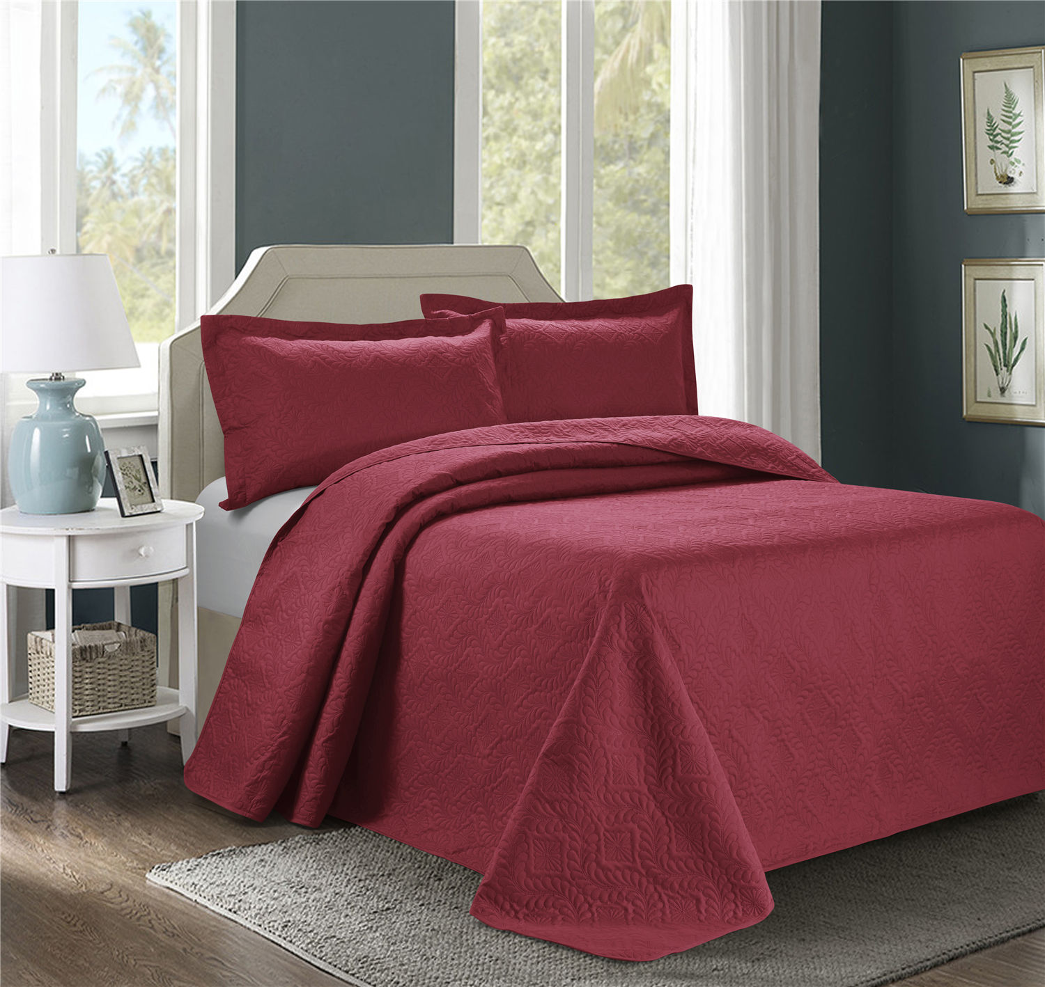 3 Piece Oversize Bedspread Burgundy Color -ESTANCIA Wisteria Ultrasonic Embossed Bedspread Set with Two Shams - Oversized Coverlet Queen 100x106 inches- Hypoallergenic,Fade Resistant,Wrinkle Resistant