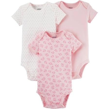 65e47dee85 Child of Mine by Carter s Newborn Baby Girl Basic Short or Long Sleeve 3  Pack Bodysuit