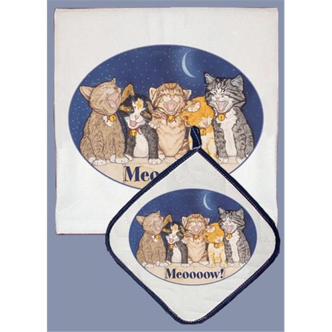 Pipsqueak Productions DP457 Cat Dish Towel And Pot Holder Set