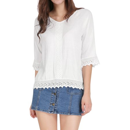 Women Crochet Trim 34 Sleeves V Neckline Loose Top