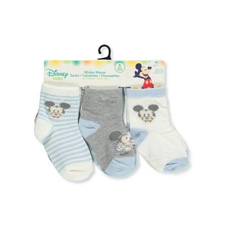 Disney Mickey Mouse Baby Boys' 6-Pack Crew Socks