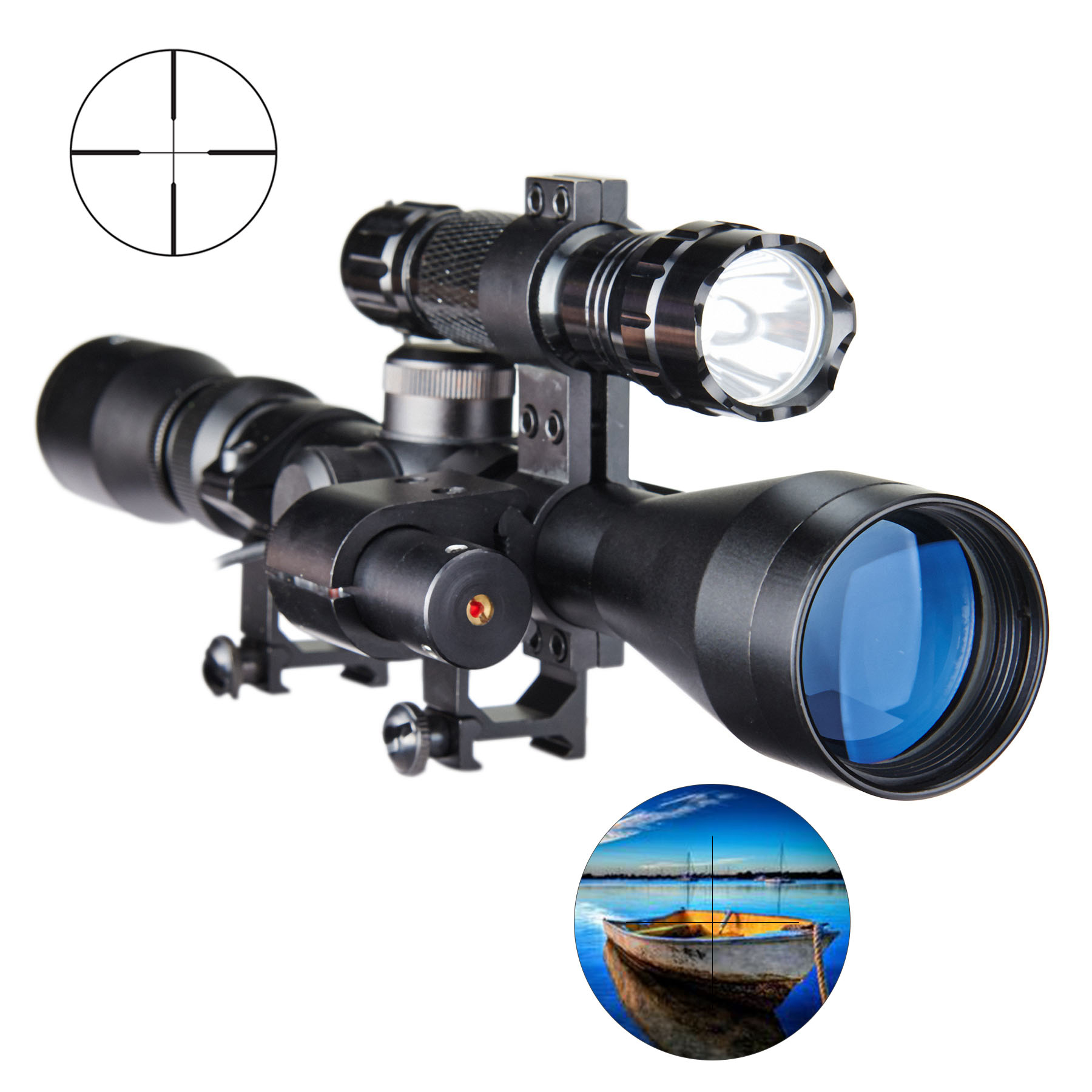 3 in 1 3-9X40 Optical Hunting Rifle Scope Combo with Red Laser & Torch by