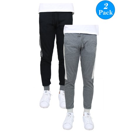 Men's Slim-Fit French Terry Jogger with Contrast Side Stripe (2-Pack) Woven Contrast Side Stripes