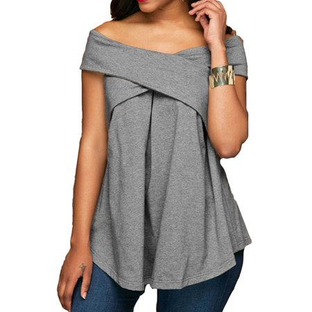 DYMADE Women Sexy Off The Shoulder Criss Cross Tunic T Shirt Tee Top - Firefighter Tunic