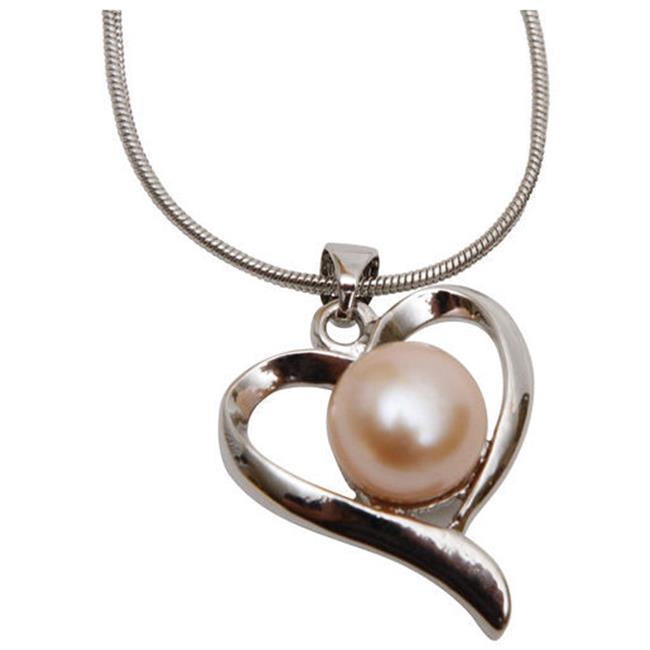 290-PFPHN Premium Pink Freshwater Pearl Heart Necklace