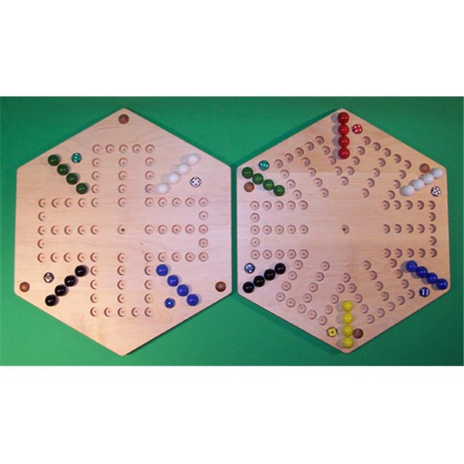 THE PUZZLE-MAN TOYS W-1966 Wooden Marble Game Board - (2 Games In 1) - 18 in. Hexagon - Aggravation 6-Player 5-Hole & 4-Player 5-Hole - Hard Maple