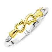 Hook Bangle Bracelet in Sterling Silver & 14kt Gold