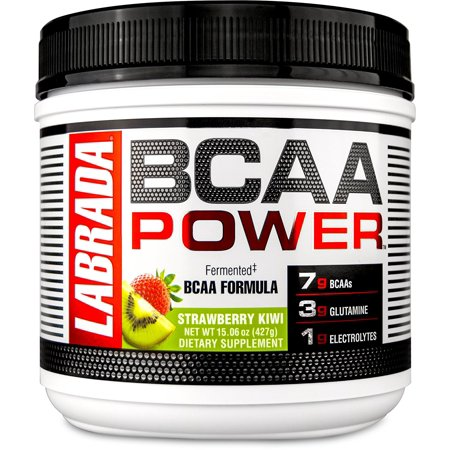 LABRADA NUTRITION – BCAA Power Powder, Fermented Amino Acids with Glutamine & Electrolytes, Muscle Building Post Workout Supplement, Strawberry Kiwi, 15.06oz (427g) - Post Halloween Workout