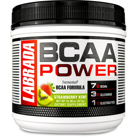 LABRADA NUTRITION – BCAA Power Powder, Fermented Amino Acids with Glutamine & Electrolytes, Muscle Building Post Workout Supplement, Strawberry Kiwi, 15.06oz (427g)