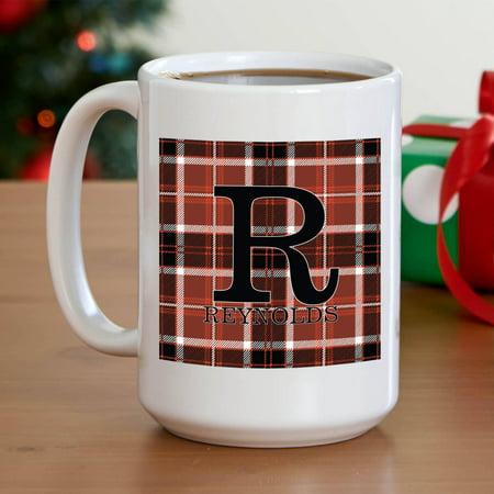 Name Coffee - Personalized Plaid Name Coffee Mug, 15 oz