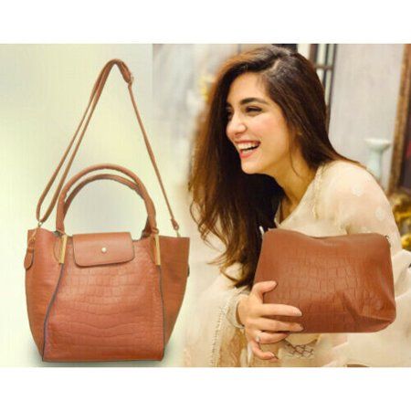 Evening Wear Accessories - Midsize Ladies Handbag - Coffee Tan with smaller companion bag Professional look for office use & Elegant for evening wear