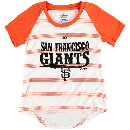 46fc6ca5a4e San Francisco Giants Majestic Girls Youth Pinstripes Raglan Tri-Blend T- Shirt - White Black - Walmart.com