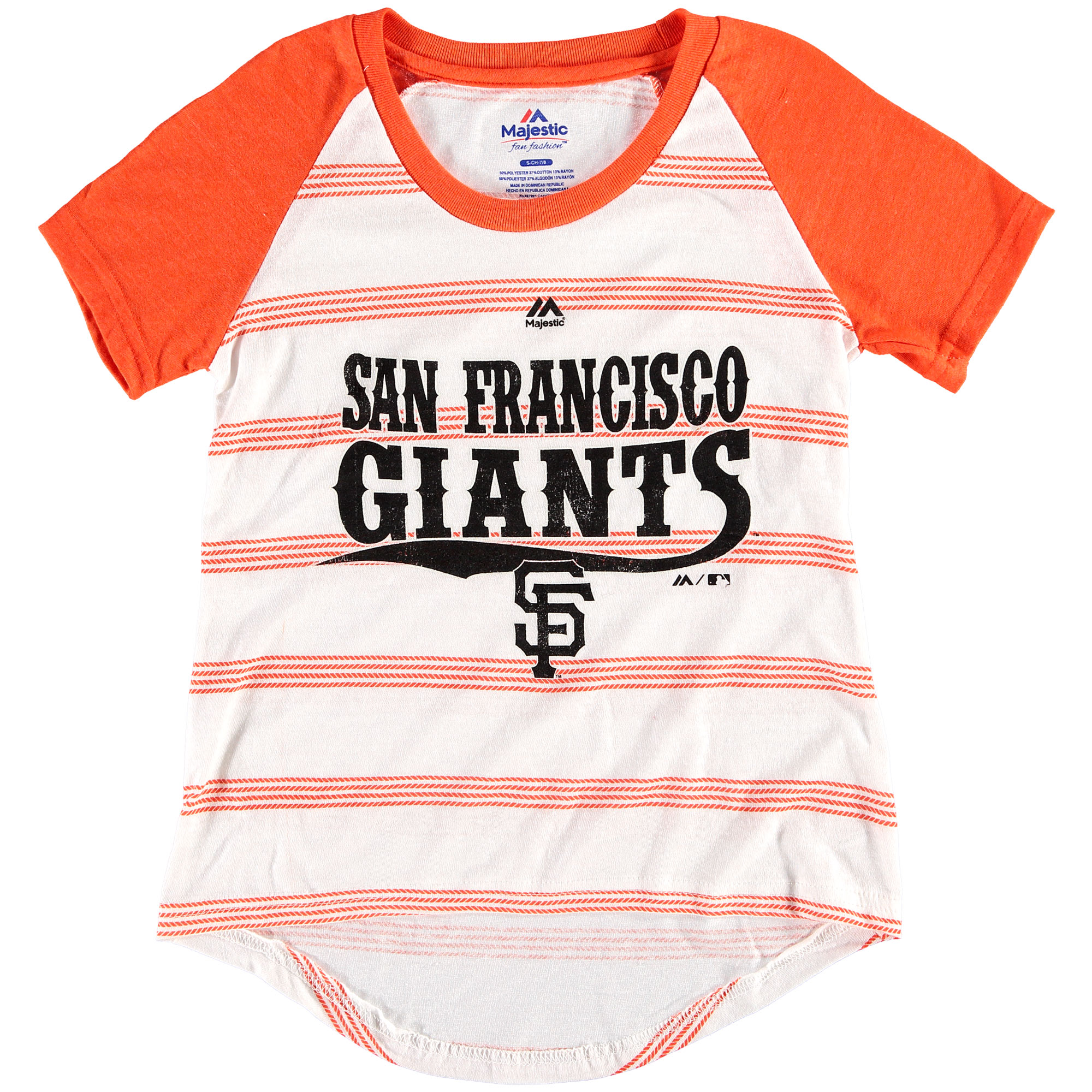 San Francisco Giants Majestic Girls Youth Pinstripes Raglan Tri-Blend T-Shirt - White/Black