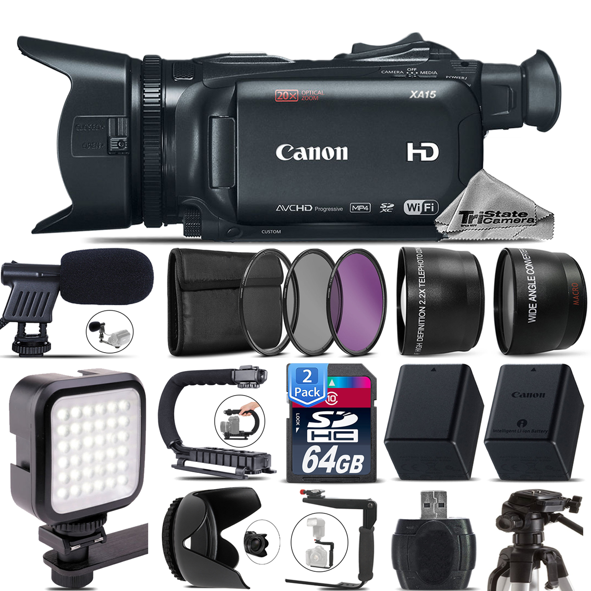 Canon XA15 Camcorder + Mic + LED + Telephoto & Wide Angle Lens &More! -128GB Kit by Tri StateCamera