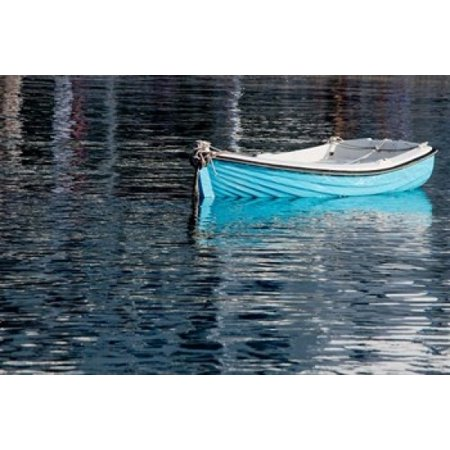 Greece Cyclades Mykonos Hora Blue Fishing Boat with Reflection Canvas Art - Cindy Miller Hopkins  DanitaDelimont (16 x