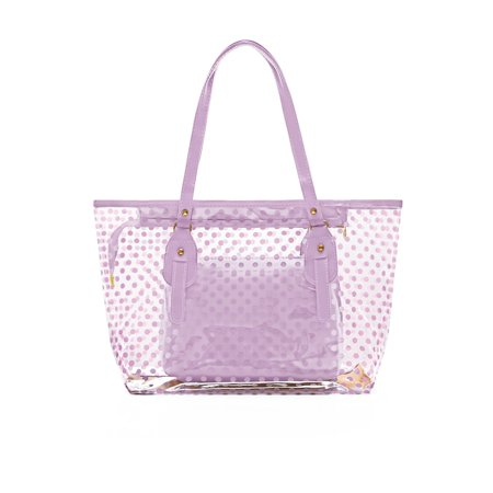 Women's Dots Transparent Zip Closure Panel Design Tote w Bag
