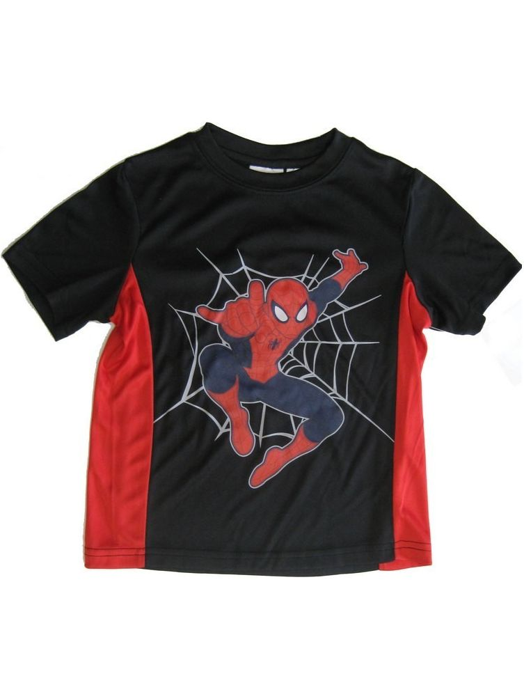 s Little Boys Black Red Panels Spiderman Graphic Print T-Shirt 4-7