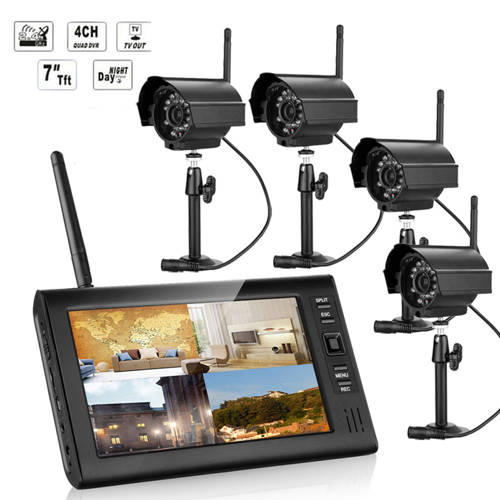 "ktaxon wireless 7""tft lcd 2.4g quad dvr home security"