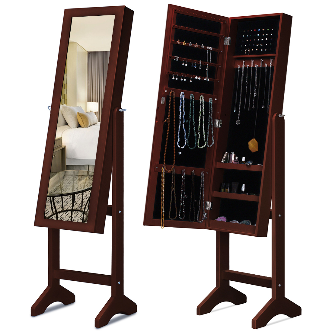 Kingbird Mirror Jewelry Cabinet Armoire Free Standing Floor Lockable Jewelry  Organizer For Long Necklaces, Rings, Earrings And Studs (Brown)    Walmart.com