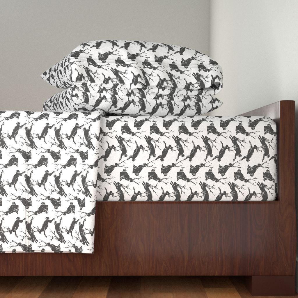 Jackalope Rabbit Black White Gray Holli 100% Cotton Sateen Sheet Set by Roostery