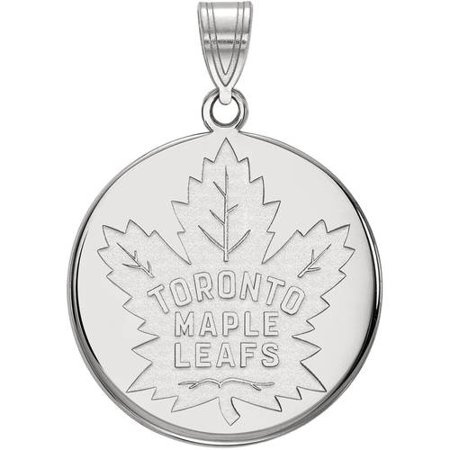 NHL Toronto Maple Leafs Sterling Silver Large Disc Pendant 6735 26x16mm Leaf Pendant
