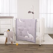Little Love by NoJo Dream Big Little Elephant Grey, White and Gold 3 Piece Mini Crib Bedding Set - Comforter with Two Fitted Mini Crib Sheets