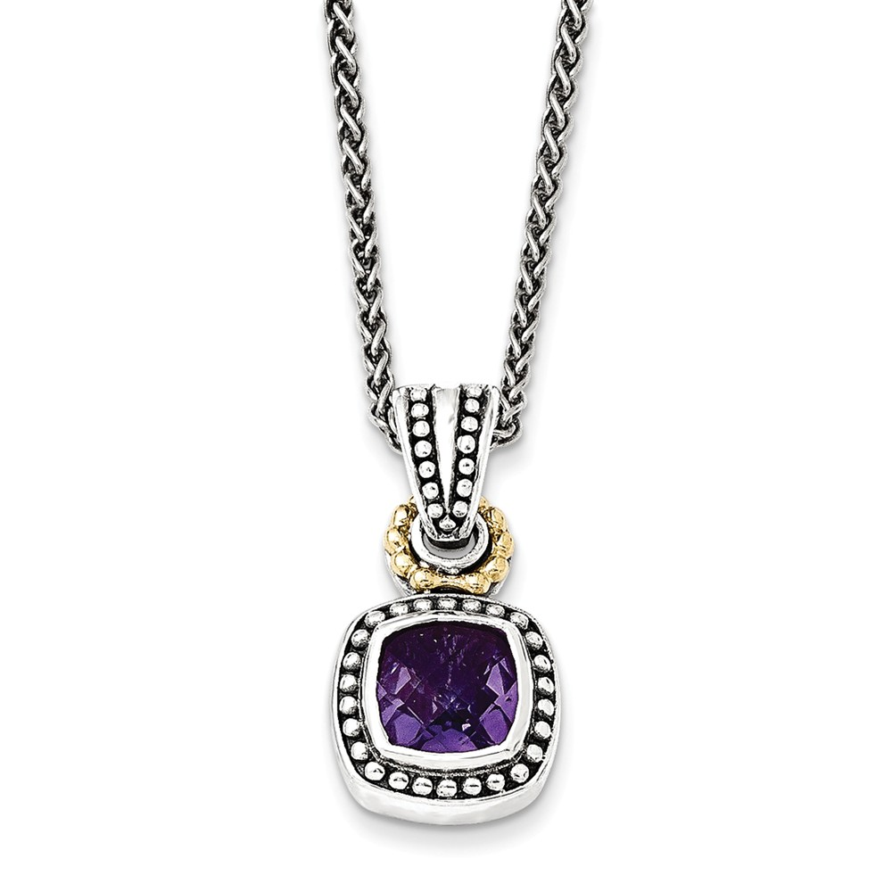 "Solid 925 Sterling Silver with 14k Antiqued-Style Simulated Amethyst Necklace Chain 18"" with Secure Lobster Lock... by AA Jewels"