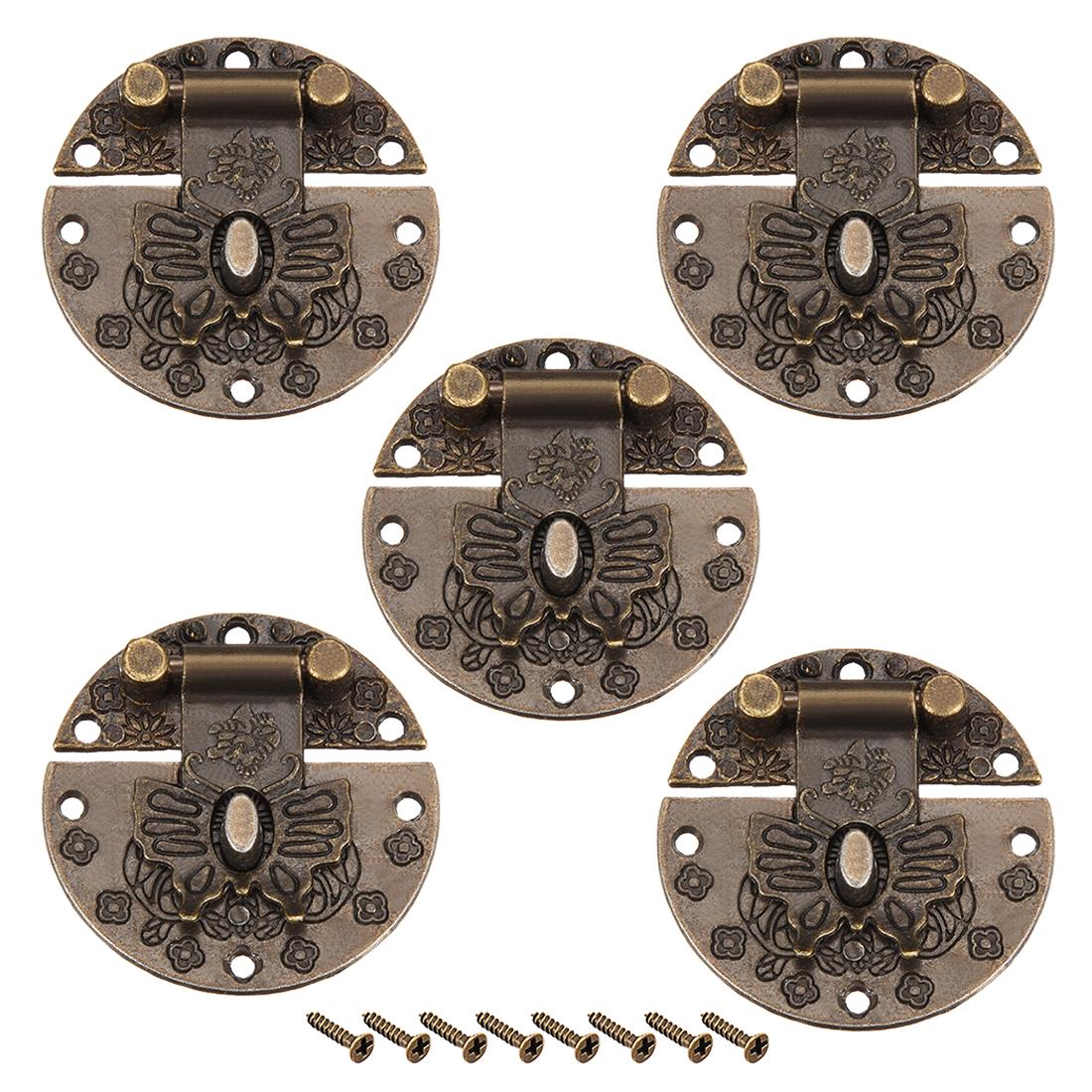 5 Sets Wood Case Chest Box Rectangle Clasp Closure Hasp Latches Bronze Tone 40mm