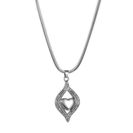 Anavia Anavia Mini Heart Leaf Crystal Memorial Jewelry Cremation Ash Urn Keepsake Necklace With Gift Box Walmart Com