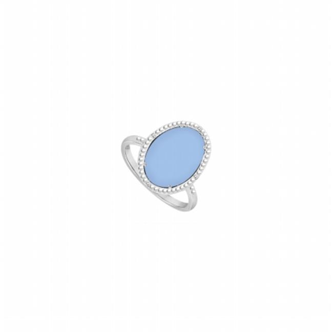 Fine Jewelry Vault UBLRBK70244AGCZCAQ Sterling Silver Aqua Chalcedony & Cubic Zirconia Ring 15.08 CT TGW , 4 Stones by Fine Jewelry Vault