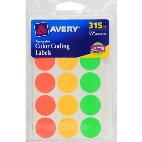 "Avery Assorted Neon Color-Coded Dots, 0.75"", 315ct"