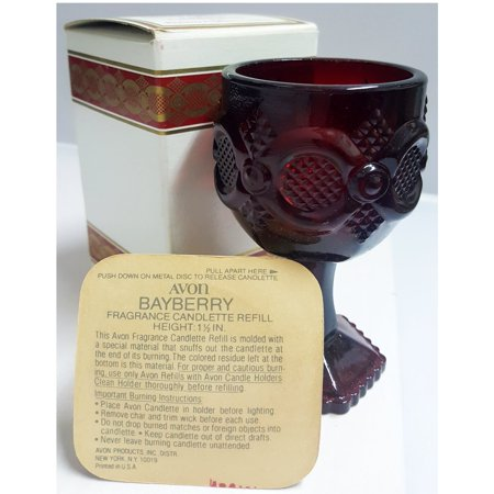 Vintage Avon 1876 Cape Cod Wine Goblet Candle Holder w/ Bayberry