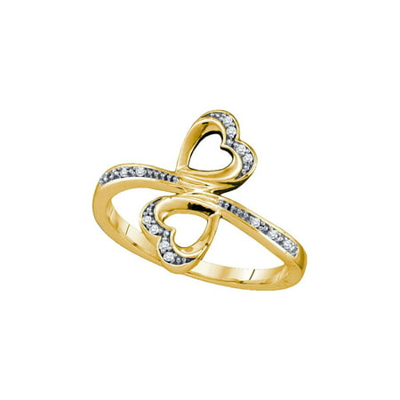 - 10kt Yellow Gold Womens Round Diamond Double Heart Bypass Ring 1/20 Cttw