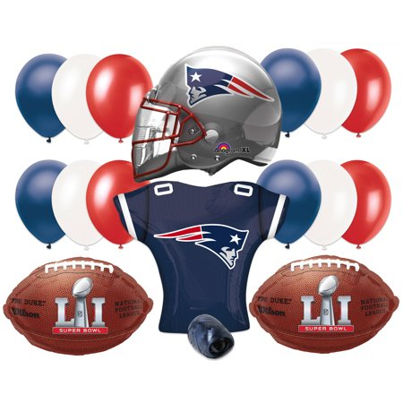 Super Bowl 51 New England Patriots Pack 17Pc Balloon Pack  Red Blue Silver