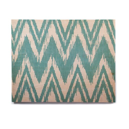 East Urban Home 'Tribal Chevron Aqua' Graphic Art Print on Wood