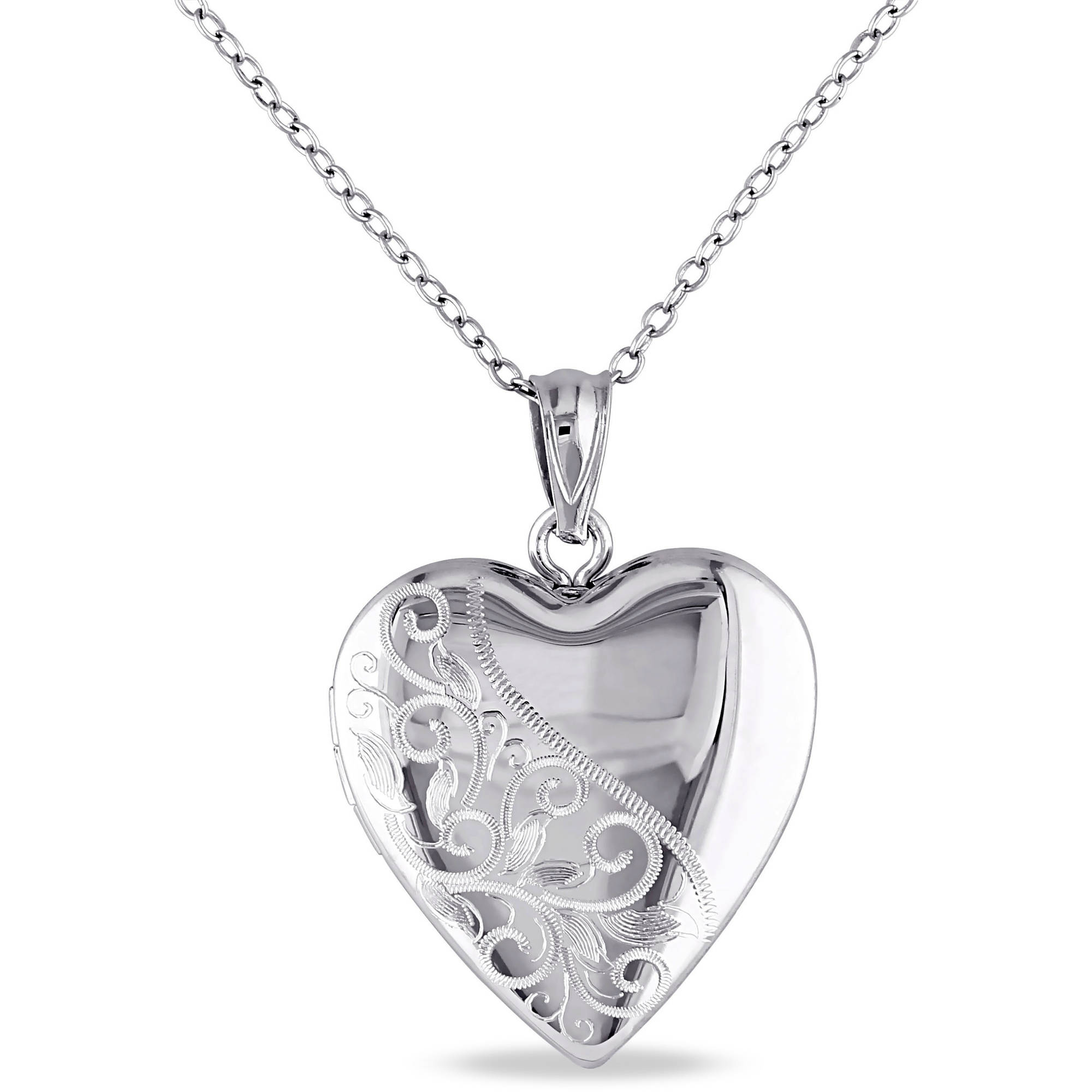 Asteria Sterling Silver Heart Locket Pendant, 18