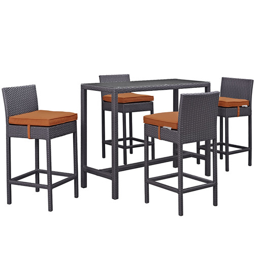 Sol 72 Outdoor Brentwood 5 Piece Bar Height Dining Set with Cushion