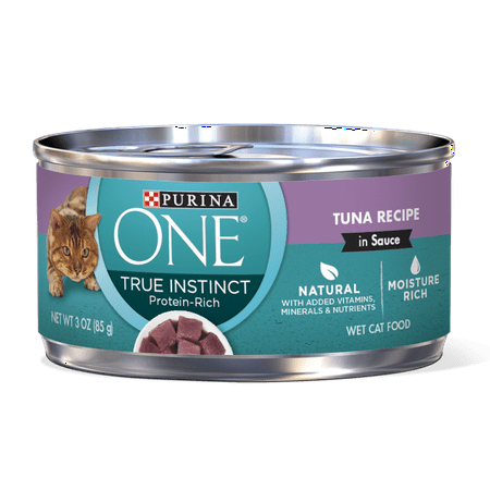 Purina ONE Natural, High Protein Wet Cat Food, True Instinct Tuna Recipe in Sauce - 3 oz. Pull-Top (The Best Wet Cat Food For Indoor Cats)