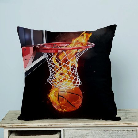 Basketball Pillow (GCKG Flaming Basketball Pillow Case Pillow Cover Pillow Protector Two Sides 20 x 20 Inches )