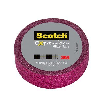 """Scotch Expressions Glitter Tape, .59"""" x 196"""", Hot Pink Glitter"""